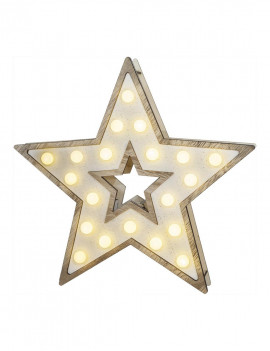 Estrella de madera natural...